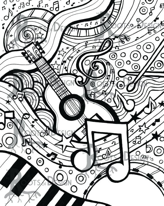 570x713 Musical Coloring Pages Drawn Music Notes Coloring Page Pencil