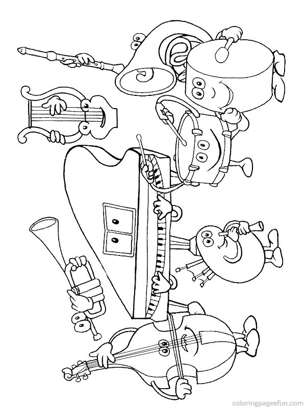 600x800 Instruments Coloring Pages Musical Instruments Coloring Pages