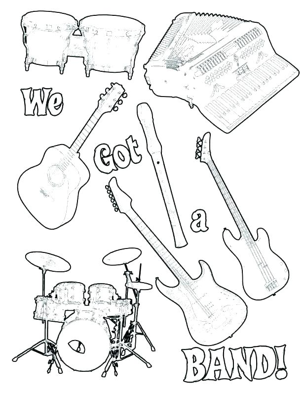 618x800 Musical Instrument Coloring Pages Musical Instruments Coloring