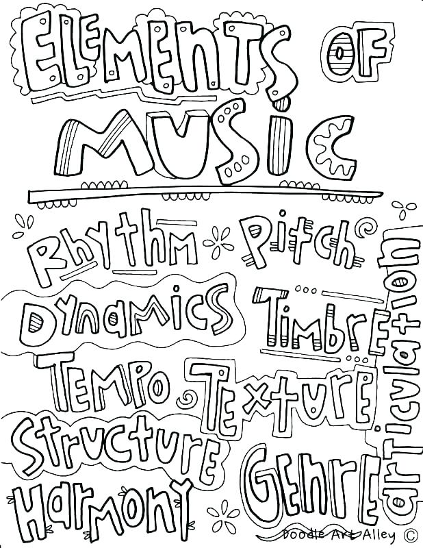 618x800 Musical Instrument Coloring Pages Print Out