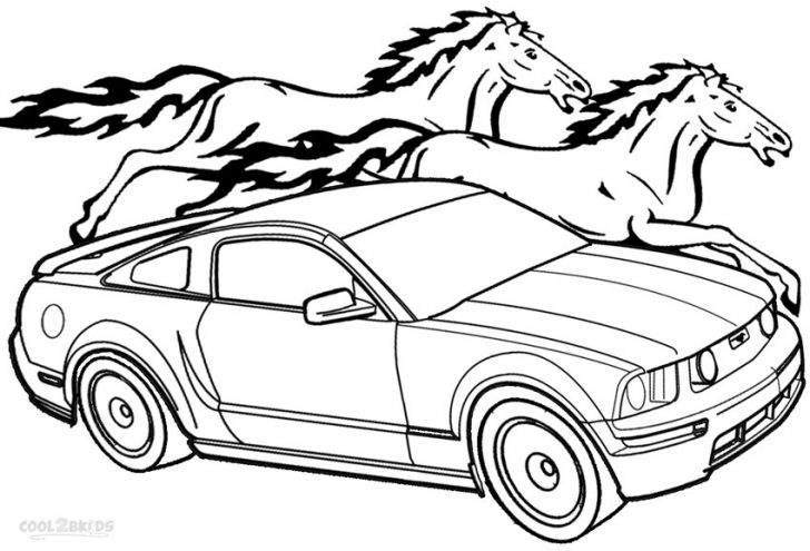728x495 Coloring Pages Mustang Car