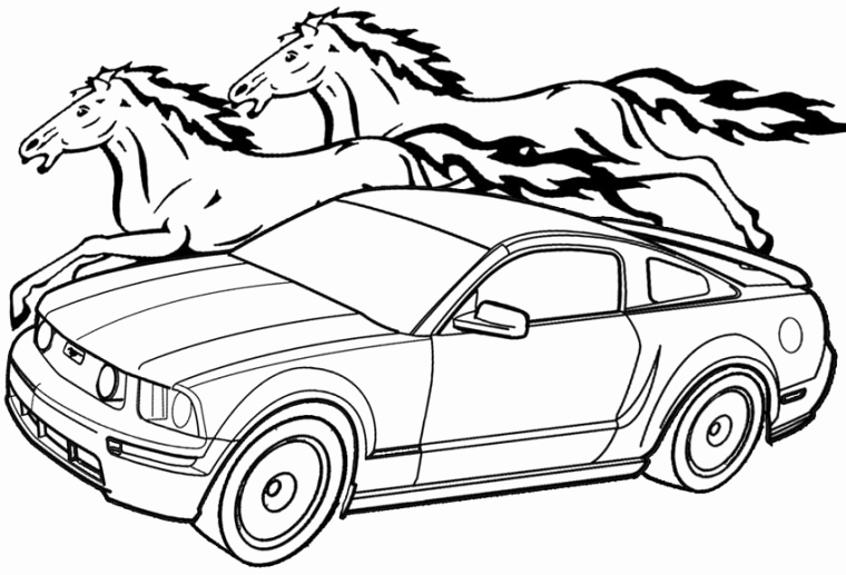 760x517 Easy Car Colouring Pictures Mustang Classic Coloring Page Of Easy