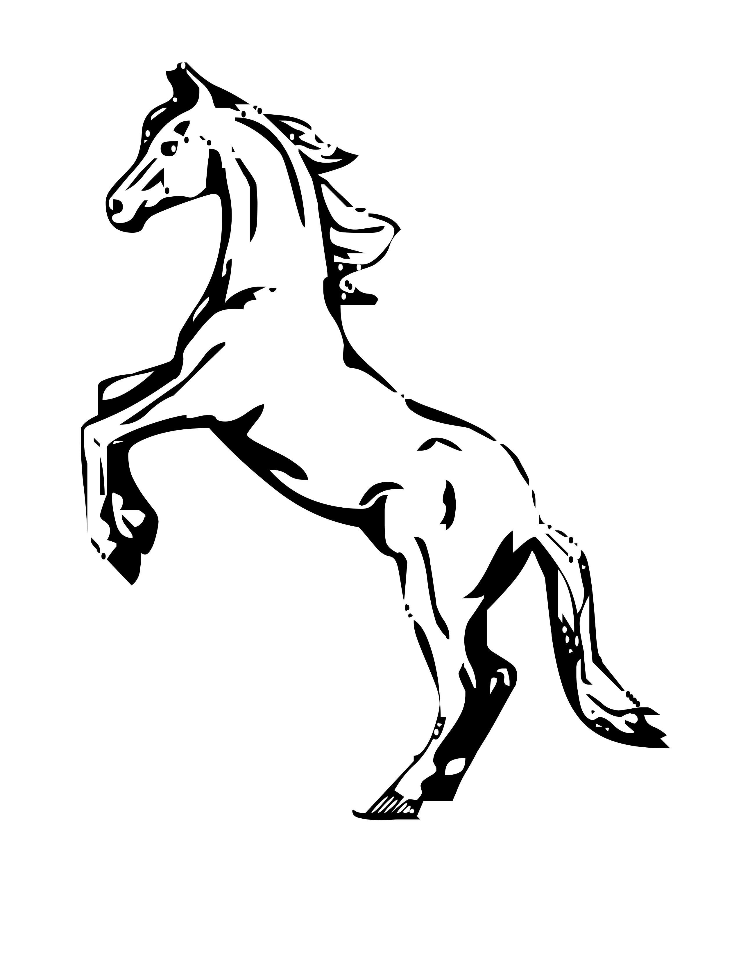 2550x3300 Mustang Horse Coloring Pages