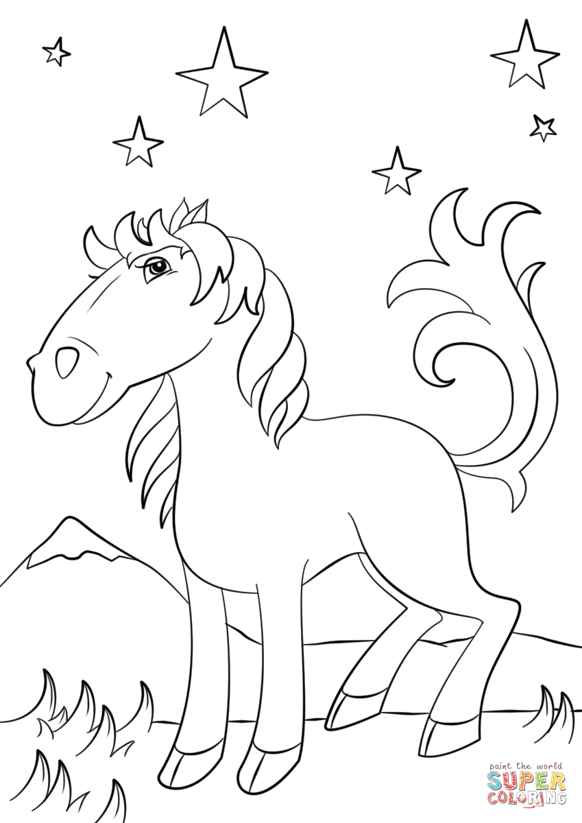 849x1200 Cartoon Mustang Horse Coloring Page Free Printable Coloring Pages