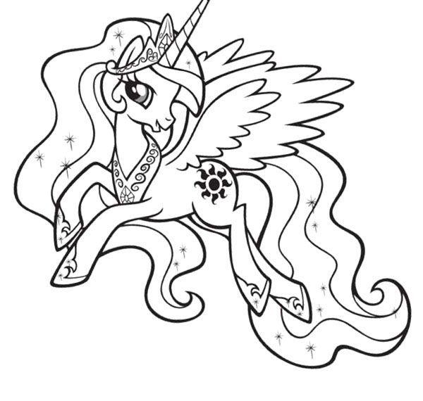 600x570 My Little Pony Princess Celestia Coloring Picture For Kids April