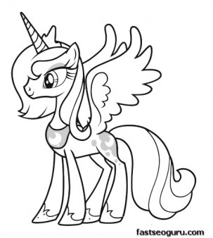 303x338 My Little Pony Princess Luna Coloring Pages Printable