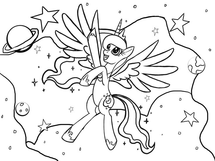 734x550 Princess Luna Coloring Page