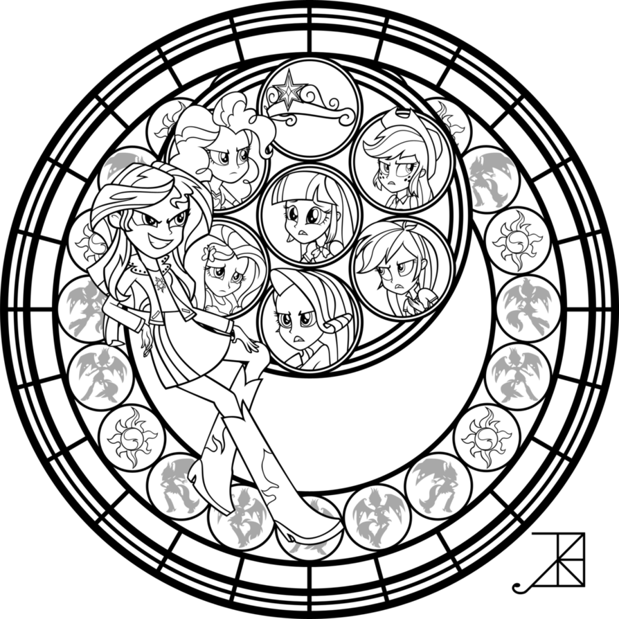 894x894 Sunset Shimmer Stained Glass Coloring Page