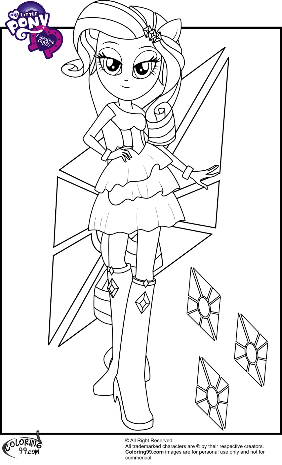 973x1600 Rarity In Equestria Girls Coloring Page