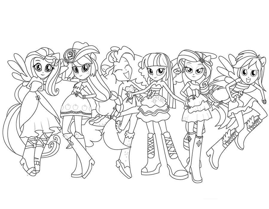 900x700 Equestria Girls Coloring Pages