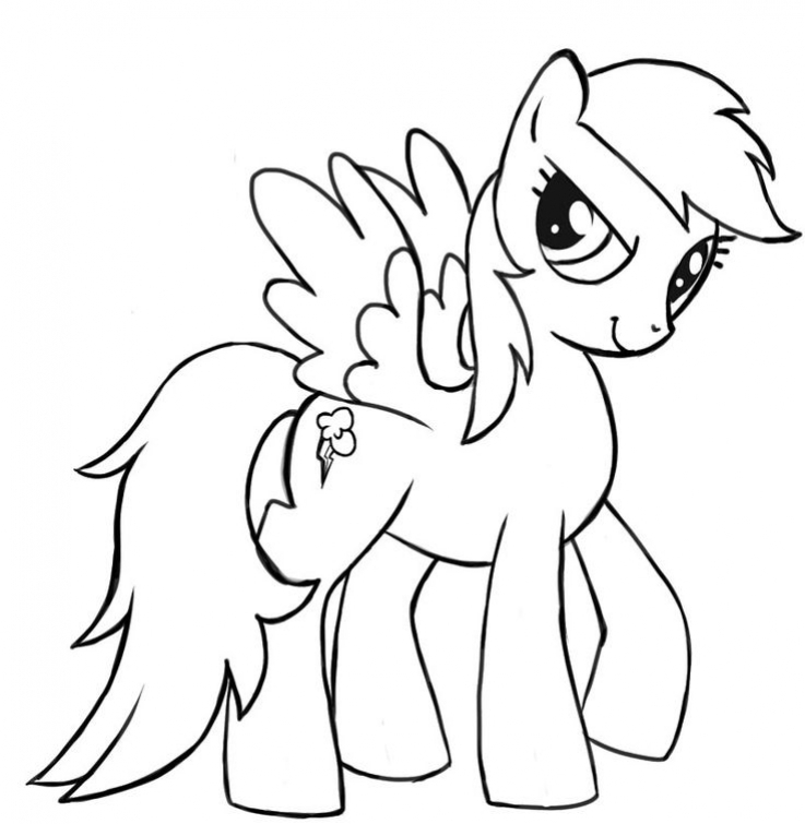 737x755 Rainbow Dash The Little Pegasus Coloring Page Free To Print