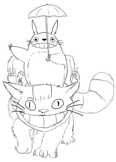 378x529 Totoro And Cat Bus Coloring Page Studio Ghibli