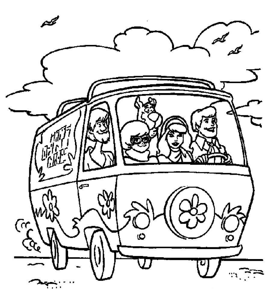 900x976 Shrewd Scooby Doo Mystery Machine Coloring Pages Van