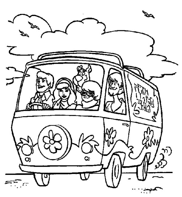 600x651 Freds Driving Mystery Machine Car Scooby Doo Coloring Pages Best