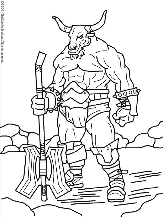 541x720 Minotaur Coloring Pages Mythological Creatures Of The Middle Ages