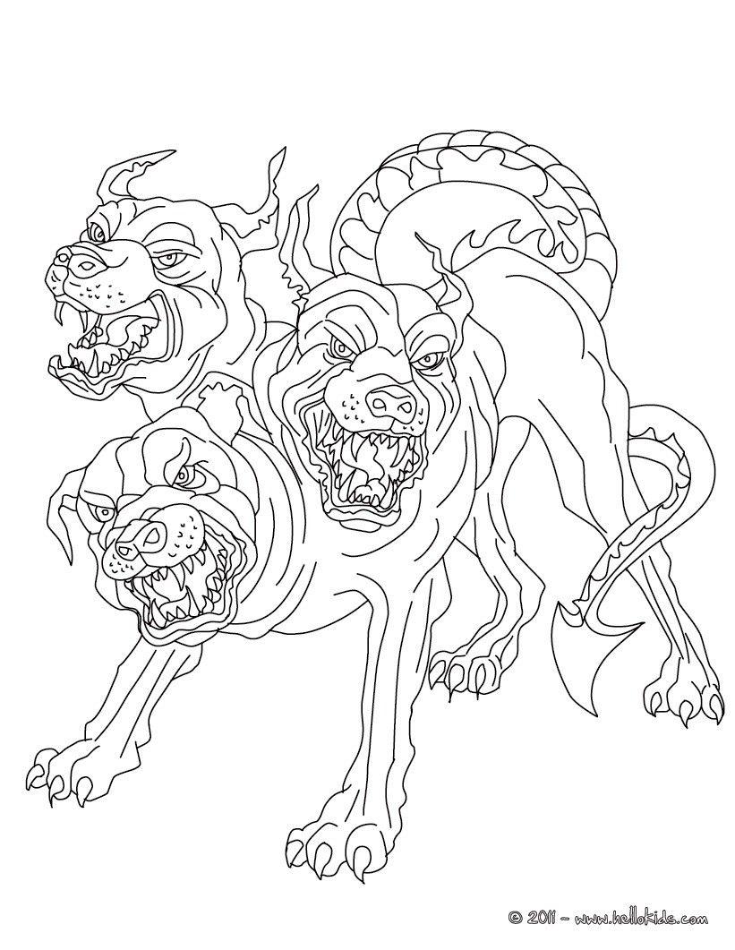 821x1061 Kleurplaat Cerberus The Headed Dog Guadian Of Hades Coloring