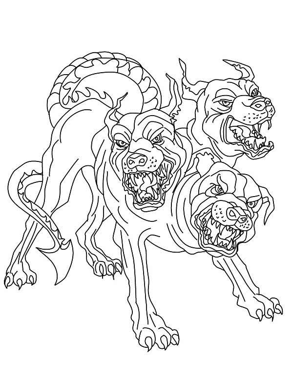 600x775 Cerberus Greek Mythology Line Art