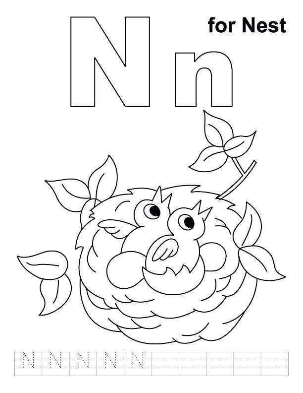612x792 N Coloring Page Letter N Coloring Page N For Nest Coloring Page