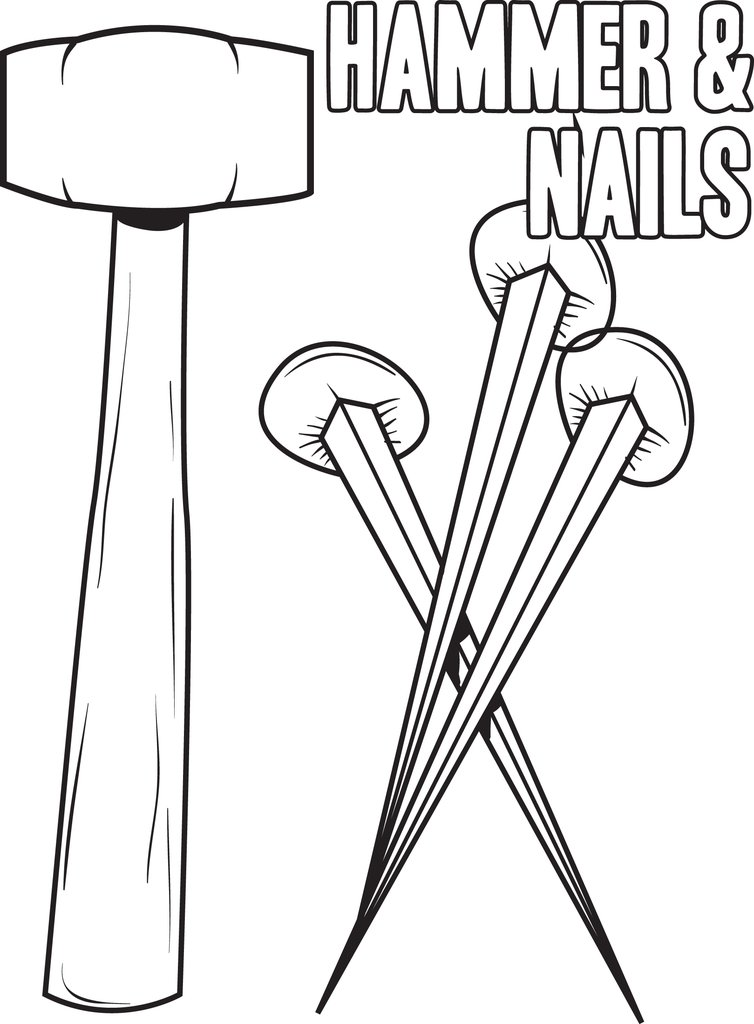 754x1024 Free, Printable Hammer And Nails Crucifixion Coloring Page