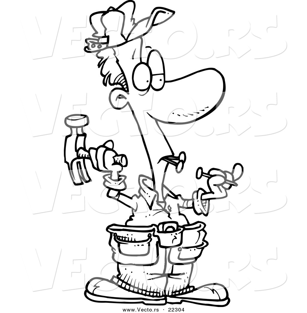 1024x1044 Vector Of A Cartoon Carpenter Holding Nails In His Teeth