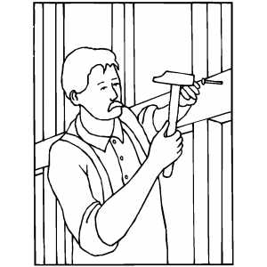 300x300 Worker Hammering Nail Coloring Page