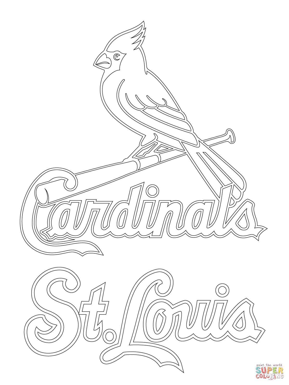 1200x1600 Best Of St Louis Cardinals Logo Coloring Page Supercoloring