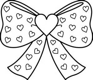 300x258 Bow With Hearts Coloring Page