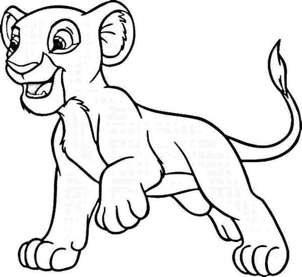 600x551 Simba Want To Play Coloring Page