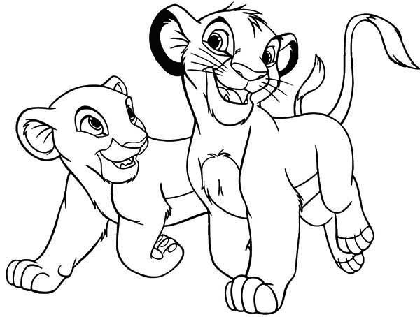 600x454 Lion King, The Lion King Simba And His Girlfriend Coloring Page