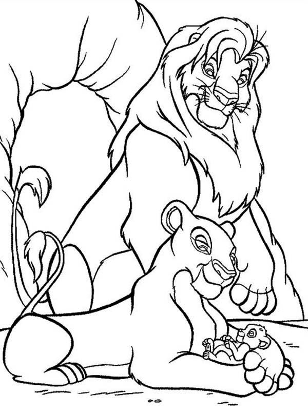 600x807 Mufasa, Nala And Simba In Front Of The Cave The Lion King Coloring