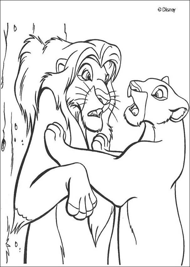 607x850 Lion King Coloring Pages Kovu Nala Finds Simba Coloring Pages