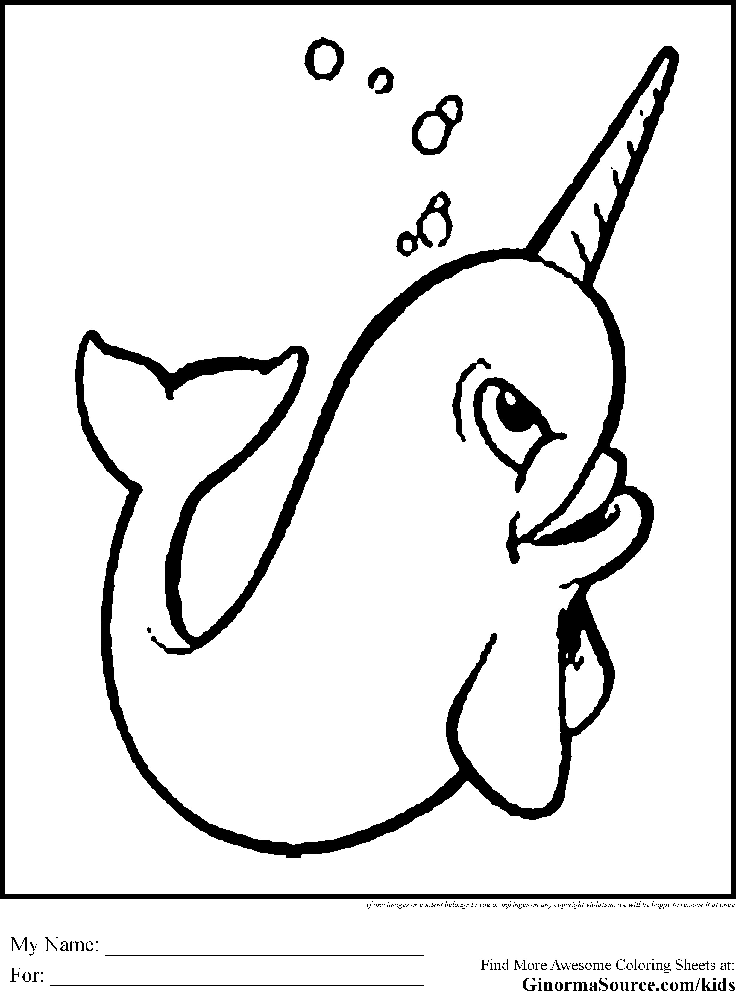 2459x3310 Narwhal Coloring Pages