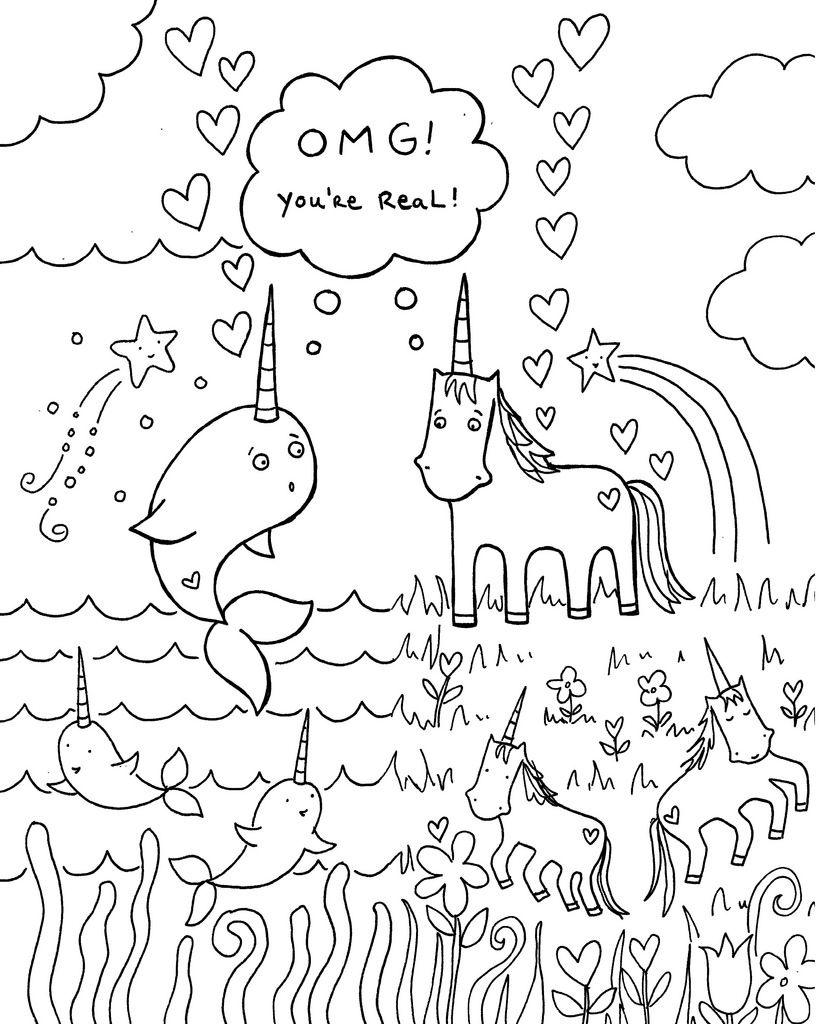 819x1024 All Sizes Free Download Narwhal Unicorn Coloring Book Page