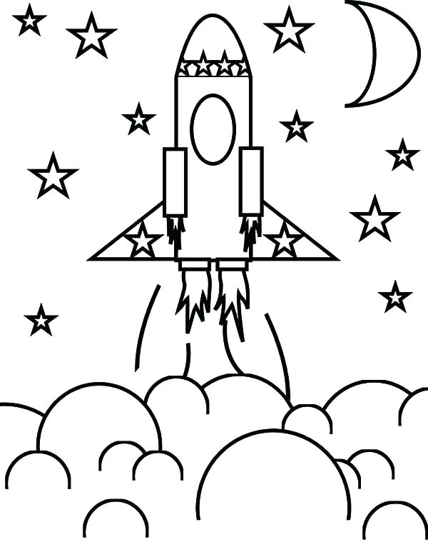 600x766 Space Shuttle Coloring Pages Rocket Ship And The Stars Page