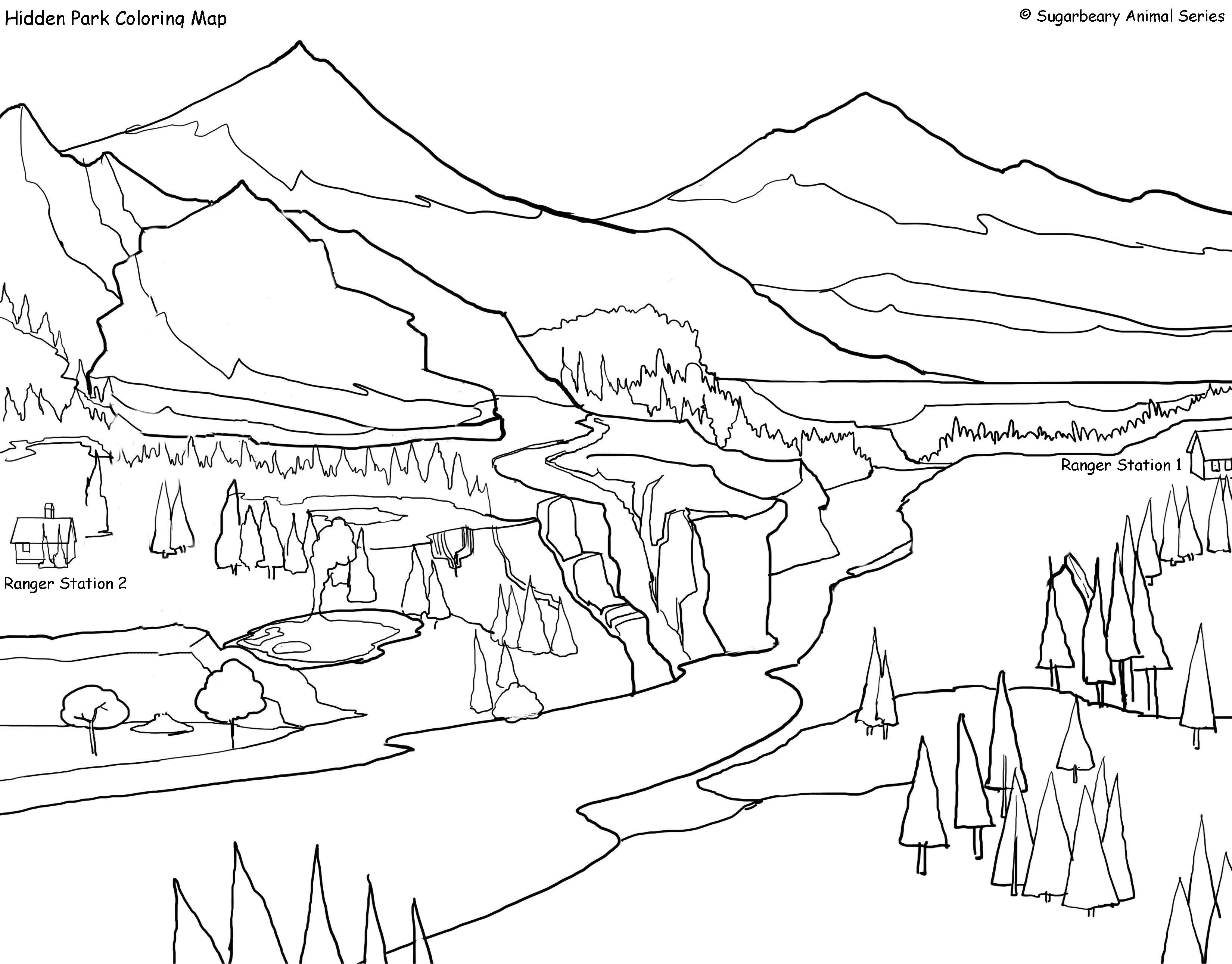 3300x2581 Park Coloring Page Throughout