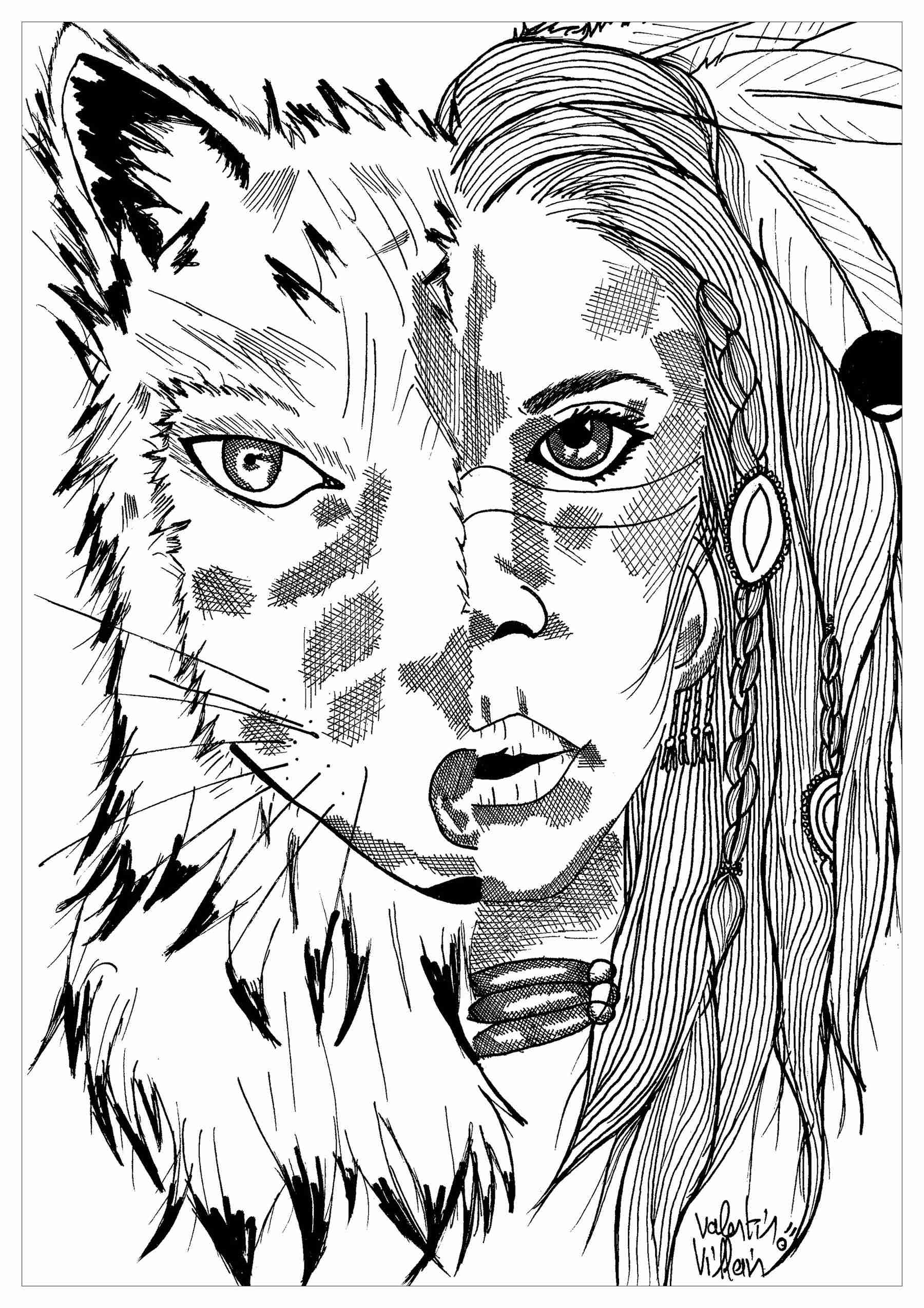 1800x2547 Indian Wolf Par Valentin Native American Coloring Pages