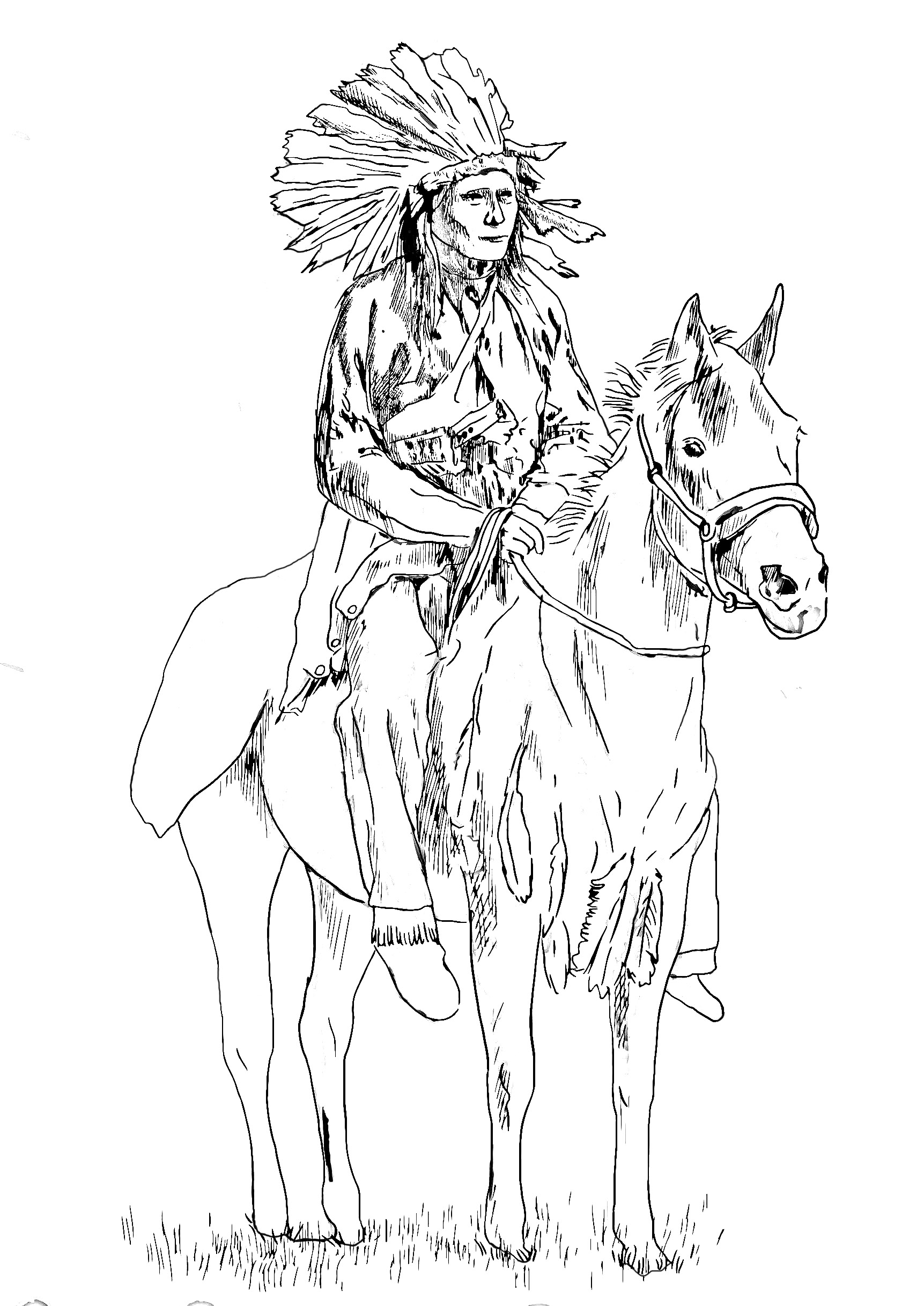 1723x2434 Native American On His Horse