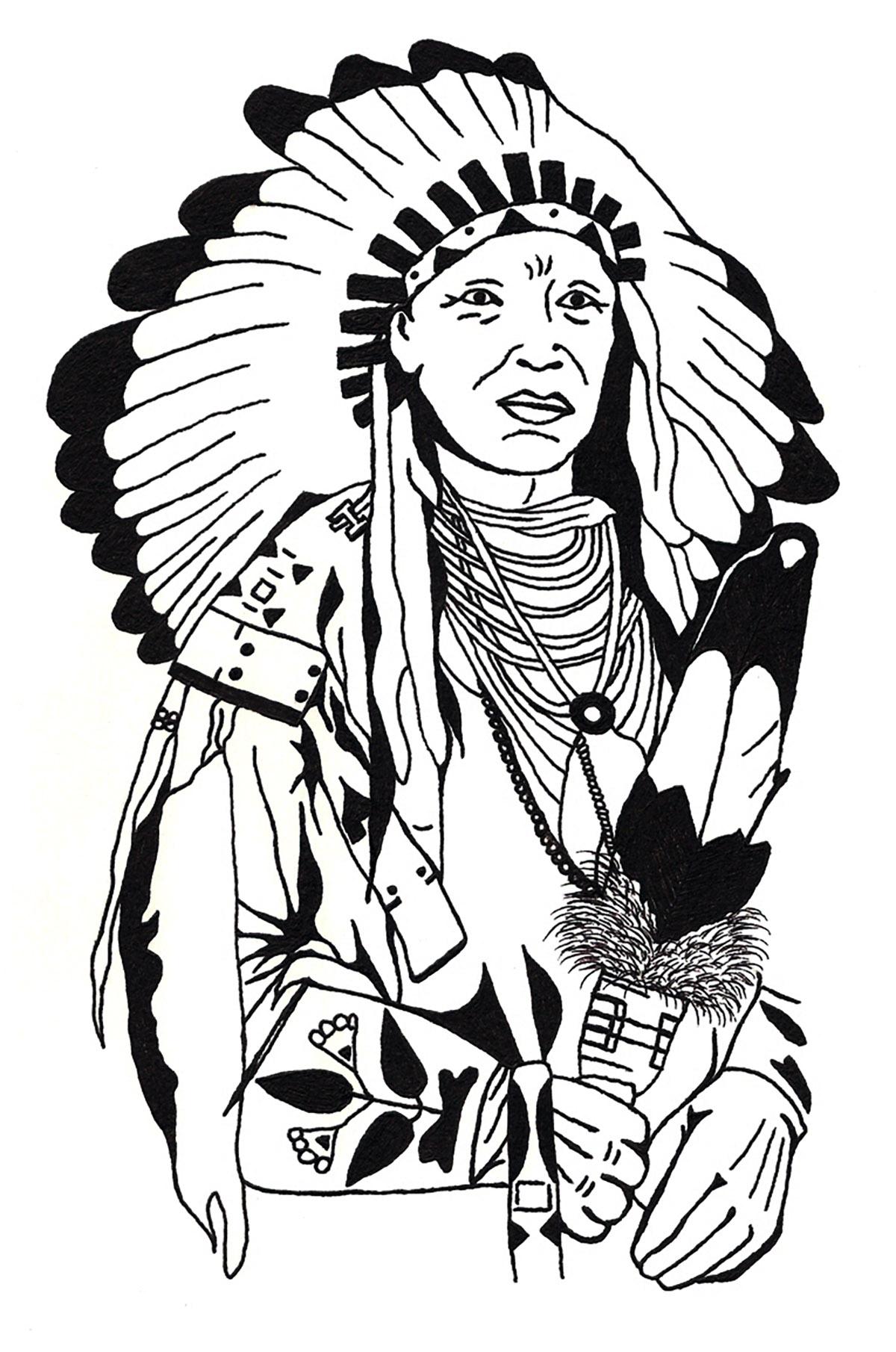 1200x1810 Drawing Native American