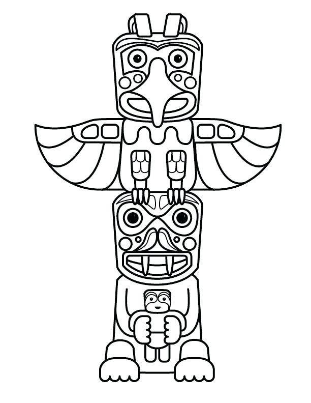 612x792 Native American Art Coloring Pages Free Printable Totem Pole