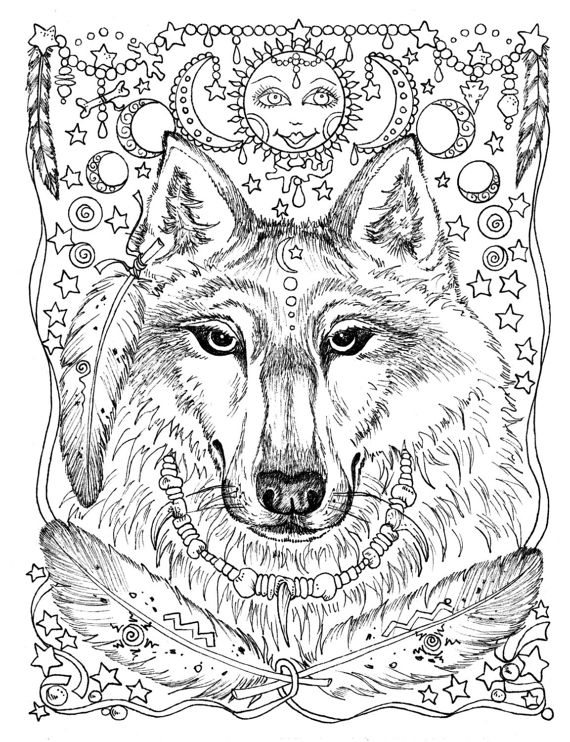 570x742 Pages Instant Download Animal Spirits To Color Wolf Raven