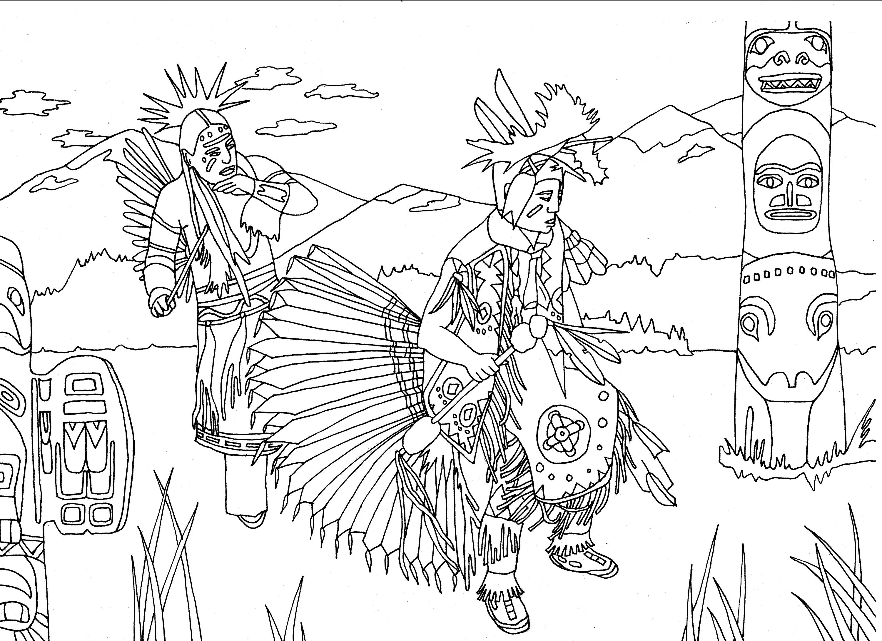 3000x2180 Free Coloring Page Coloring Adult Native Americans Indians Danse