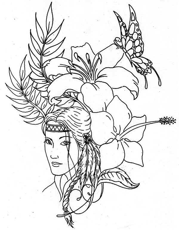 600x768 Lovely Native American On Native American Day Coloring Page