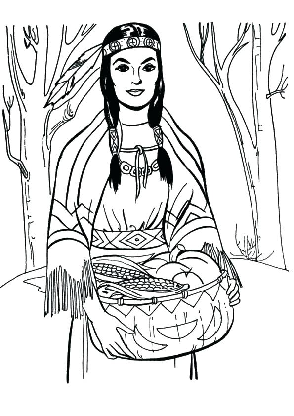 595x842 Native American Coloring Pages For Thanksgiving Native Coloring