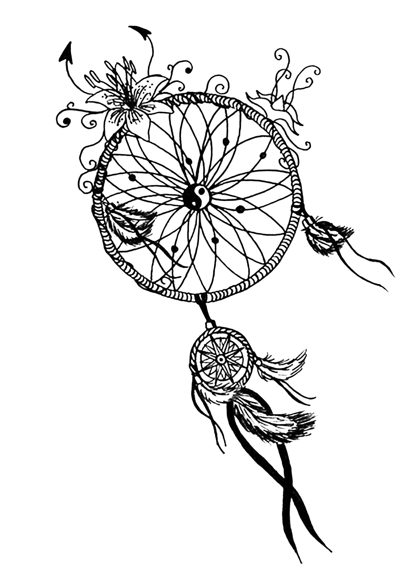 1300x1828 Dreamcatcher Coloring Pages For Adults Justcolor Noticeable Page