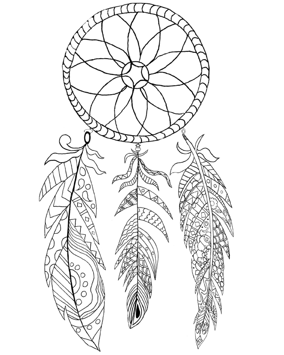 576x720 Free Printable Dream Catcher Coloring Page!