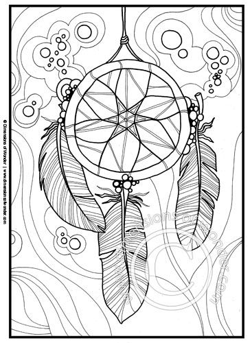 364x500 Native American Coloring Pages {printable} Dreamcatcher, Feathers