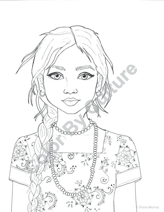 570x738 Indian Girl Coloring Page Cute Girl Coloring Pages Of Cartoon Page