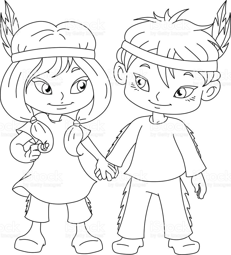 927x1024 Coloring Page Indian Boy Native American Free Printable Kids Color