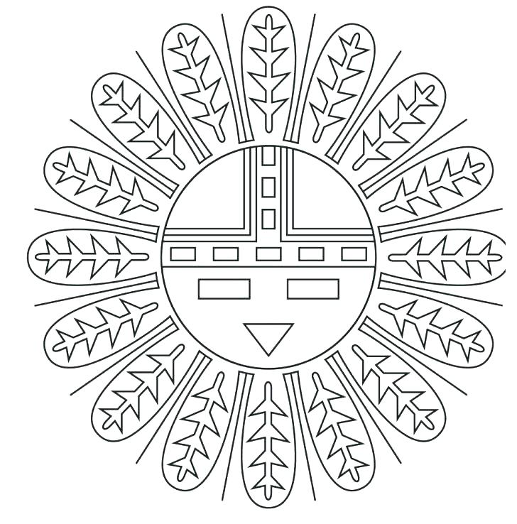 728x738 Native Totem With Tribal Symbols For Day Coloring Page Medium Size