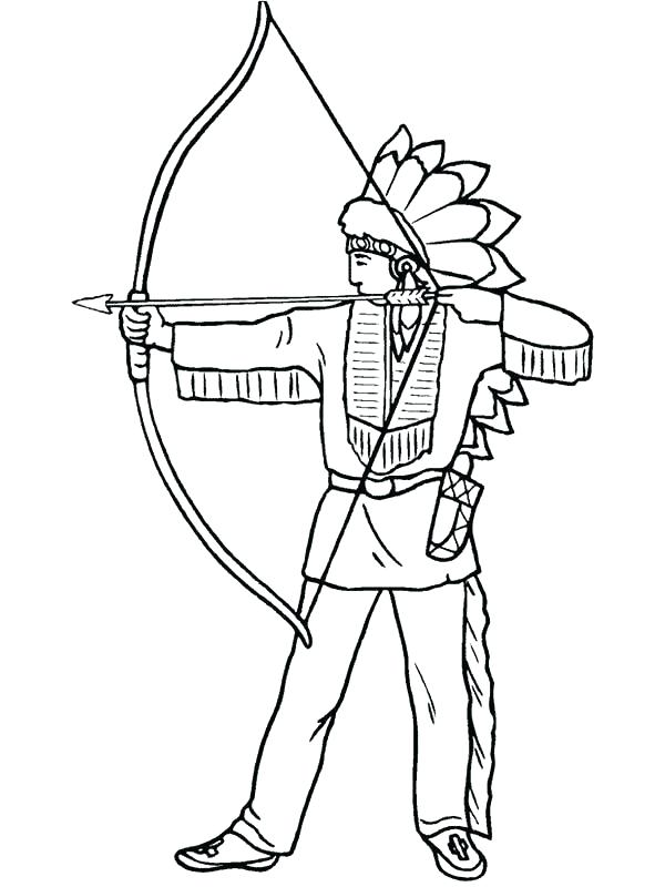 600x800 Native Coloring Pages Free Native Warrior On Native Day Cute